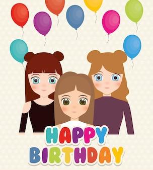 Szczęśliwy kartka urodzinowa z anime dziewcząt i balonów