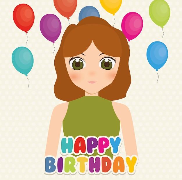 Szczęśliwy kartka urodzinowa z anime girl i balony
