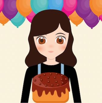Szczęśliwy kartka urodzinowa z anime girl i ciasto