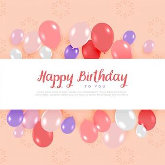Szczęśliwy kartka urodzinowa z balonami w pastelowych kolorach