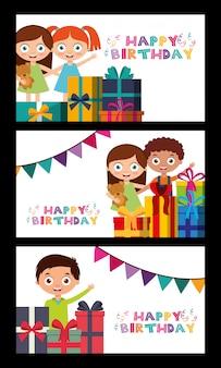 Szczęśliwy kartka urodzinowa z dziećmi
