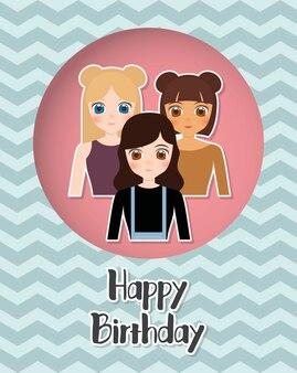 Szczęśliwy kartka urodzinowa z ikoną anime dziewczyny