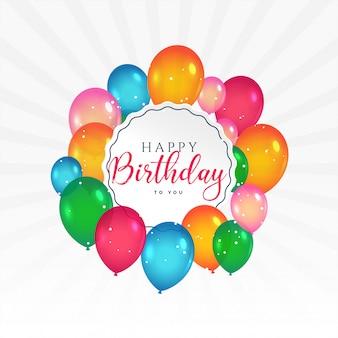 Szczęśliwy kartka urodzinowa z kolorowych balonów