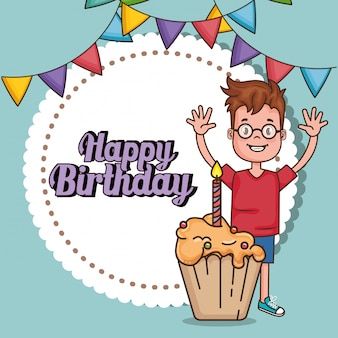 Szczęśliwy kartka urodzinowa z małym chłopcem