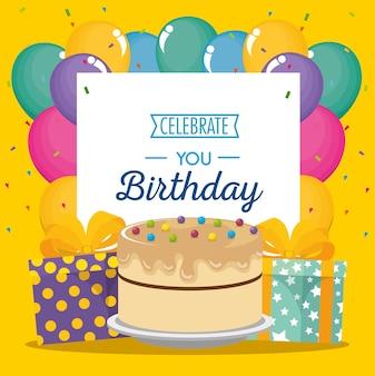 Szczęśliwy kartka urodzinowa z słodkie ciasto i prezenty