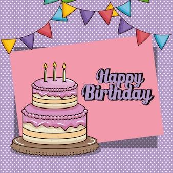 Szczęśliwy kartka urodzinowa z słodkie ciasto