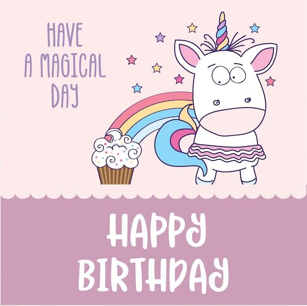 Szczęśliwy kartka urodzinowa z uroczą dziewczynka jednorożca