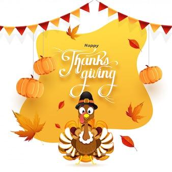 Szczęśliwy kartkę z życzeniami dziękczynienia ozdobione wiszące dynie, jesienne liście i indyka ptaka