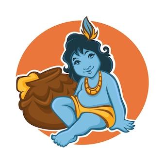 Szczęśliwy kartkę z życzeniami janmashtami. mała krishna i garnek do masła.