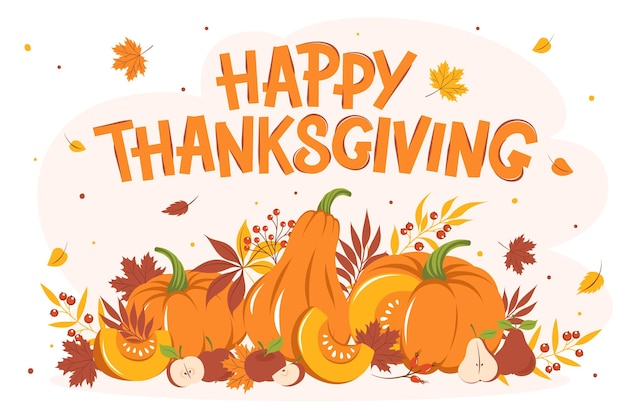 Szczęśliwy kartkę z życzeniami na święto dziękczynienia z liśćmi, dynią i owocami. kolorowe sezonowe wektor ilustracja na wakacje z życzeniami, baner, plakat.