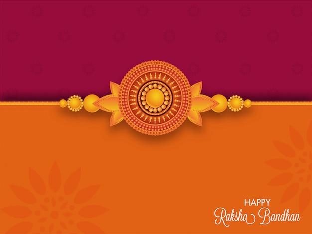 Szczęśliwy kartkę z życzeniami raksha bandhan z piękną perłą rakhi na ciemnoróżowym i pomarańczowym tle.