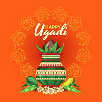 Szczęśliwy kartkę z życzeniami ugadi z ozdobnym kalash