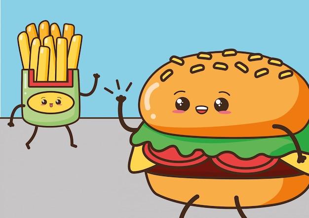 Szczęśliwy kawaii, frytki i hamburger, karmowy projekt, ilustracja