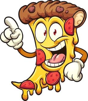 Szczęśliwy kawałek pizzy pepperoni trzymający palec w górze