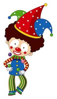 Szczęśliwy klaun z kolorowym kapeluszem
