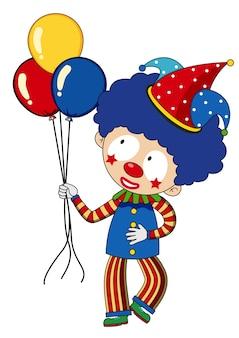 Szczęśliwy klaun z kolorowymi balonami
