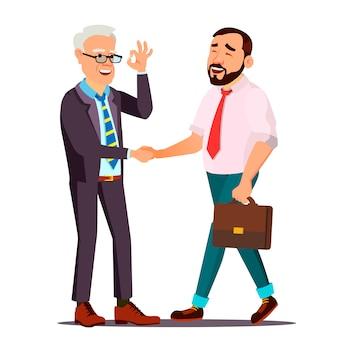 Szczęśliwy klient. osoba klienta. drżenie rąk