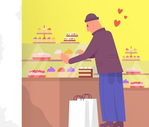 Szczęśliwy klient płci męskiej wybierając i kupując ciasto w sklepie piekarniczym. ilustracja kreskówka kolor płaski wektor.