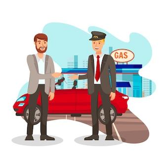 Szczęśliwy klient przy stacją benzynową płaska ilustracja