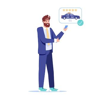 Szczęśliwy klient zamawiający taksówkę online z ilustracją aplikacji na telefon komórkowy