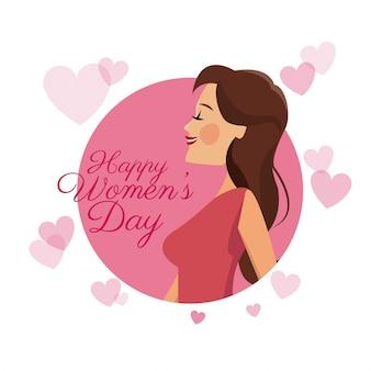Szczęśliwy kobiet dzień karty dziewczyny brunetki menchii serc wizerunek