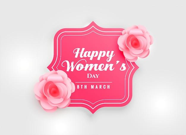 Szczęśliwy kobieta dnia tło z menchii róży kwiatem