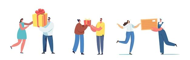 Szczęśliwy kochający charakter człowieka przygotować prezent dla kobiety. chłopak daje prezent dziewczynie na urodziny, boże narodzenie, nowy rok, rocznicę lub walentynki. ilustracja wektorowa kreskówka ludzie