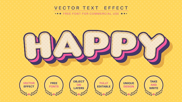Szczęśliwy komiksowy efekt tekstowy, styl czcionki
