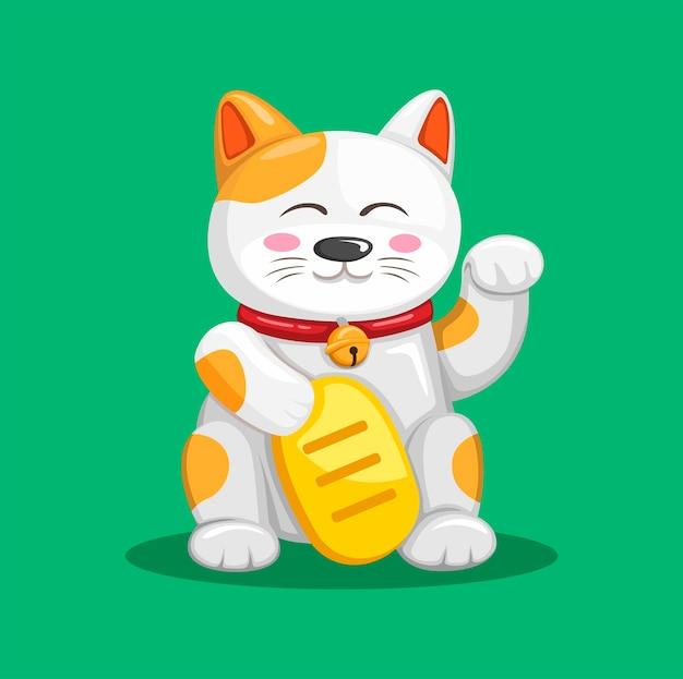 Szczęśliwy kot aka maneki neko azjatycka tradycyjna maskotka w ilustracja kreskówka