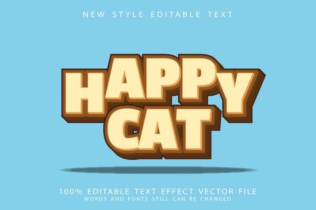 Szczęśliwy kot efekt tekstowy wytłoczony styl kreskówki