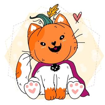 Szczęśliwy kot nosi upragniony kostium halloweenowej dyni