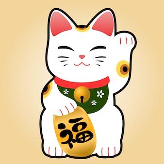 """Szczęśliwy kot symbol kreskówka płaski. tłumaczenie japońskie słowo to """"fortune""""."""