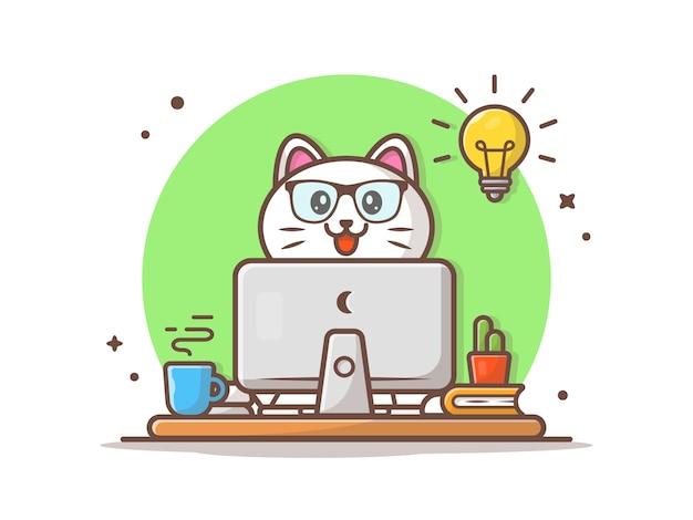 Szczęśliwy kot uzyskać pomysł ilustracji