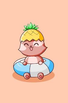 Szczęśliwy kot z ananasowym kapeluszem w letnie wakacje ilustracja kreskówka