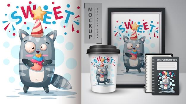 Szczęśliwy kotek i merchandising