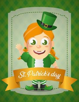 Szczęśliwy krasnoludek irlandzki ze wstążką kartkę z życzeniami