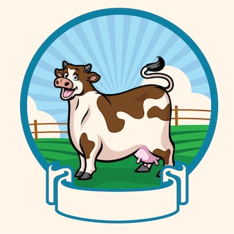 Szczęśliwy kreskówka gruba krowa