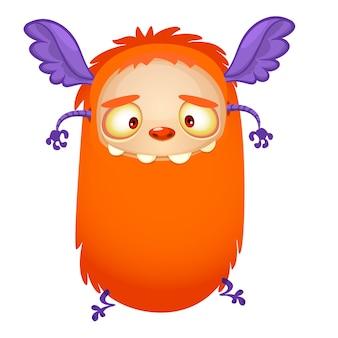 Szczęśliwy kreskówka latający pomarańczowy potwór. ilustracja wektorowa na halloween