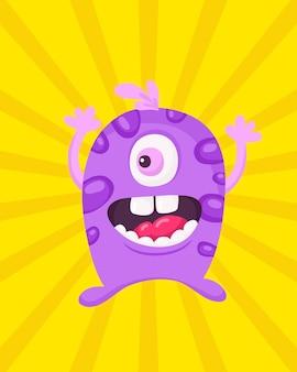 Szczęśliwy kreskówka potwór. wektor halloween liliowy potwór futrzany
