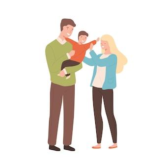 Szczęśliwy kreskówka rodzina matka, ojciec i dziecko płaskie ilustracji wektorowych. uśmiechnięci młodzi rodzice trzymając synka na białym tle. radosny mężczyzna i kobieta cieszą się rodzicielstwem.