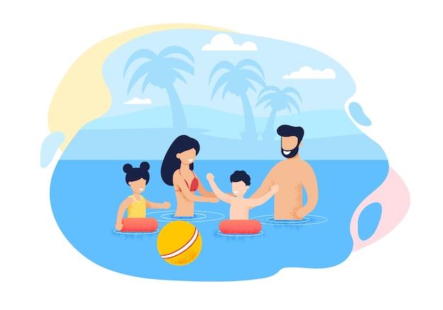 Szczęśliwy kreskówka rodzina pływanie w morzu lub oceanie