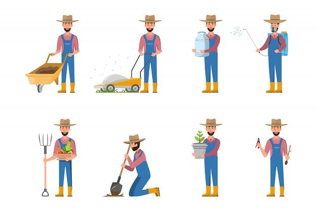 Szczęśliwy kreskówka rolnik w wielu zestawach znaków