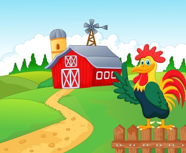 Szczęśliwy kreskówka roster w gospodarstwie rolnym