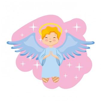 Szczęśliwy kreskówka święty anioł.