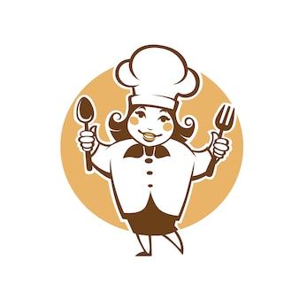 Szczęśliwy kreskówka szef kuchni, ilustracja