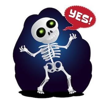 Szczęśliwy kreskówka szkielet podnosi ręce w powietrzu. ilustracja wektorowa do happy halloween na białym tle