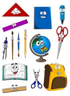 Szczęśliwy kreskówka szkoła dostarcza znaków