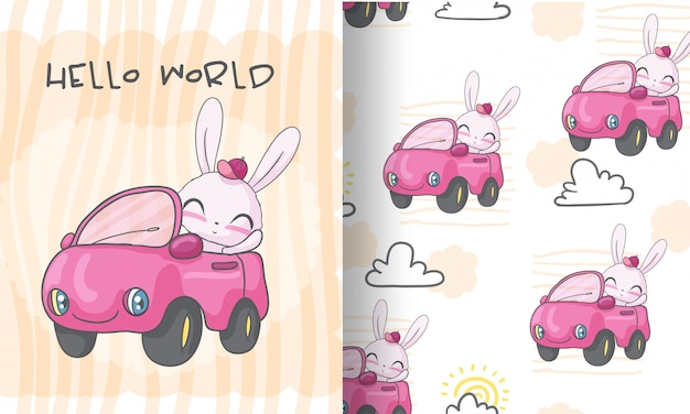 Szczęśliwy królik na samochodowej bezszwowej deseniowej ilustraci dla dzieciaków