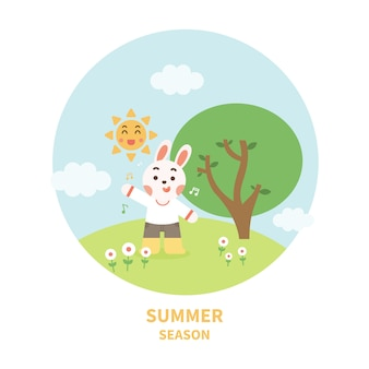 Szczęśliwy królik w lesie. postać z kreskówki ładny z krajobrazem.