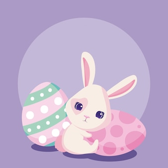 Szczęśliwy królik wielkanocny z jajkami